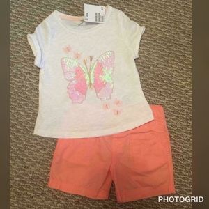 H&M Girls 1.5-2 Yrs Butterfly Top, Matching Shorts